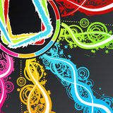 Celebration party frame background. Vector illustration of a celebration background with colorful explosions of rainbow stars, circles and lined art Royalty Free Stock Photo