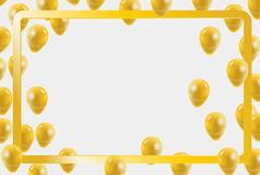Celebration party gold balloons confetti for party invitation. Background. vector Royalty Free Stock Photography