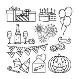 Celebration and party line icons Royalty Free Stock Photo