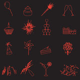 Celebration and party outline icons set eps10 Stock Image