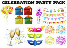 Celebration party pack with gifts and firework. Illustration Stock Photos
