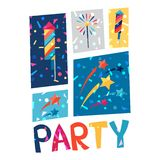 Celebration party poster with shiny confetti. Celebration festive party poster with shiny confetti Royalty Free Stock Photography