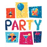 Celebration party poster with shiny confetti Stock Photos