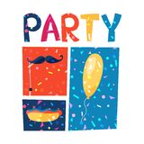 Celebration party poster with shiny confetti Stock Photography