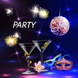 Party Celebration Festive Poster. Celebration party realistic accessories lights cocktail glasses eye masks for festive night event promotion wedding vector Royalty Free Stock Image