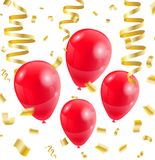 Celebration party red balloons confetti ribbon golden on white.  Stock Images