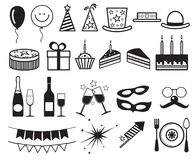 Celebration, party vector icons. Champagne and cake for party, illustration gift and party elements Stock Photography