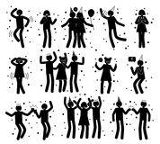 Celebration Poses Collection of Black Silhouettes. On white. Isolated vector illustration of boys and girls partying dancing, drinking and having fun vector illustration