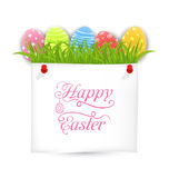 Celebration PostCard with Easter Ornamental Eggs Royalty Free Stock Photography