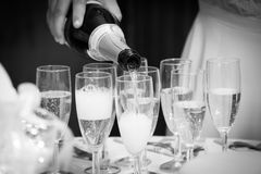 Celebration Pour Champagne. In Black and White Royalty Free Stock Photo