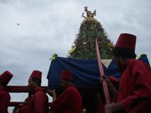 The celebration procession sekaten yogya 2017. The procession of sacred celebration in the northern square of Yogyakarta to Gedhe Kauman Mosque Yogyakarta Royalty Free Stock Photography
