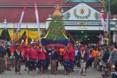 The celebration procession sekaten yogya 2017. The procession of sacred celebration in the northern square of Yogyakarta to Gedhe Kauman Mosque Yogyakarta Royalty Free Stock Photos
