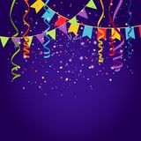 Celebration purple background. With bounting flags, vector illustration Stock Photos