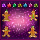 Celebration purple greeting Gingerbread man and Christmas decorations. Celebration purple greeting with Gingerbread man and Christmas decorations royalty free illustration