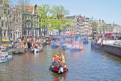 Celebration of queensday on April 30  2012 in Amsterdam the Neth Royalty Free Stock Photo