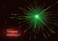 Green fireworks greeting holidays background. Celebration radiant green vector fireworks greeting holidays background, place for text Royalty Free Stock Photos