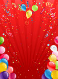 Celebration red background with balloons Royalty Free Stock Image