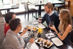 Celebration in the restaurant stock photos