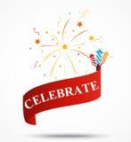 Celebration ribbon with fireworks Royalty Free Stock Photography