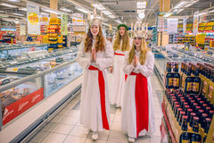 Celebration of Saint Lucy in Sweden Royalty Free Stock Photography