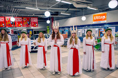 Celebration of Saint Lucy in Sweden Royalty Free Stock Image