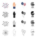 Celebration, salute, treats and other web icon in cartoon style.America, barbecue, metal, icons in set collection. Celebration, salute, treats and other  icon Royalty Free Stock Images