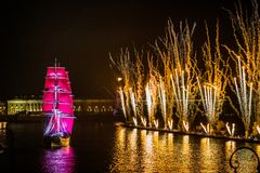 Free Celebration Scarlet Sails Show During The White Nights Festival, Royalty Free Stock Photos - 63507238