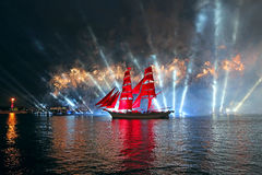 Celebration Scarlet Sails show during the White Nights Festival Royalty Free Stock Photos