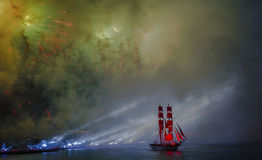 Celebration Scarlet Sails show during the White Nights Festival, Royalty Free Stock Photo