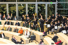 The Celebration of the Schleswig-Holstein Landtag. The Marinemusikkorps Ostsee is playing during the celebrations in 125 years Landeshaus - 10 years of new stock photo