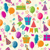 Celebration seamless background. With air balls and gifts Stock Photo
