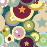 Celebration Seamless Pattern. Funky pattern with an explosion of circular shapes and stars Stock Photography