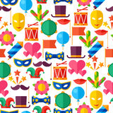 Celebration seamless pattern with carnival flat Royalty Free Stock Photography