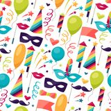 Celebration seamless pattern with carnival icons Stock Images