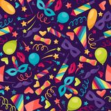 Celebration seamless pattern with carnival icons Stock Image