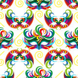 Celebration seamless pattern with carnival icons and objects. Seamless carnival masks pattern  on white background Stock Photos