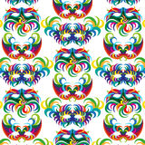 Celebration seamless pattern with carnival icons and objects. Seamless carnival masks pattern  on white background Stock Image