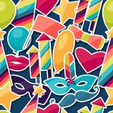 Celebration seamless pattern with carnival. Stickers and objects Royalty Free Stock Photography