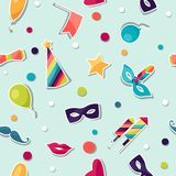 Celebration seamless pattern with carnival. Stickers and objects Stock Photo