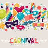 Celebration seamless pattern with carnival. Stickers and objects Royalty Free Stock Images
