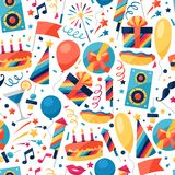Celebration seamless pattern with party icons and Royalty Free Stock Photography
