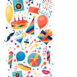 Celebration seamless pattern with party icons and Stock Images