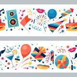 Celebration seamless pattern with party icons and Royalty Free Stock Image