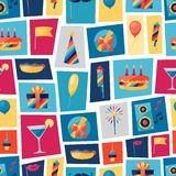 Celebration seamless pattern with party icons and Stock Image