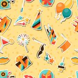 Celebration seamless pattern with party sticker Stock Photos