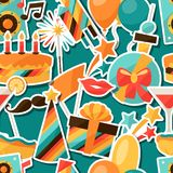Celebration seamless pattern with party sticker Royalty Free Stock Photo