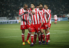 Celebration the second goal of Olympiakos Royalty Free Stock Image