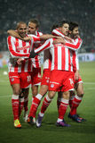 Celebration the second goal of Olympiakos Stock Photo