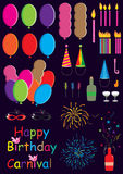 Celebration Set_eps. Illustration of celebration set on purple background Stock Photos