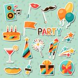 Celebration set of party sticker icons and objects Royalty Free Stock Photo